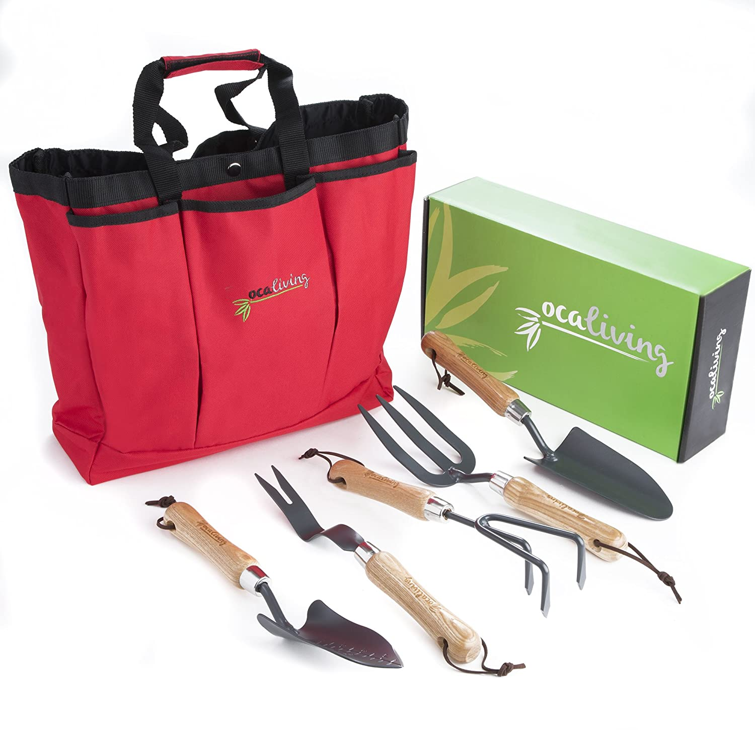 OCALIVING Gorgeous, 6-Piece Garden Hand Tool Set inc. Cherry Red, Weather-Resistant Storage Bag – Gardening and Planting Essentials – Sharp, Steel Planter Accessories with Ergonomic Ash Wood Handles