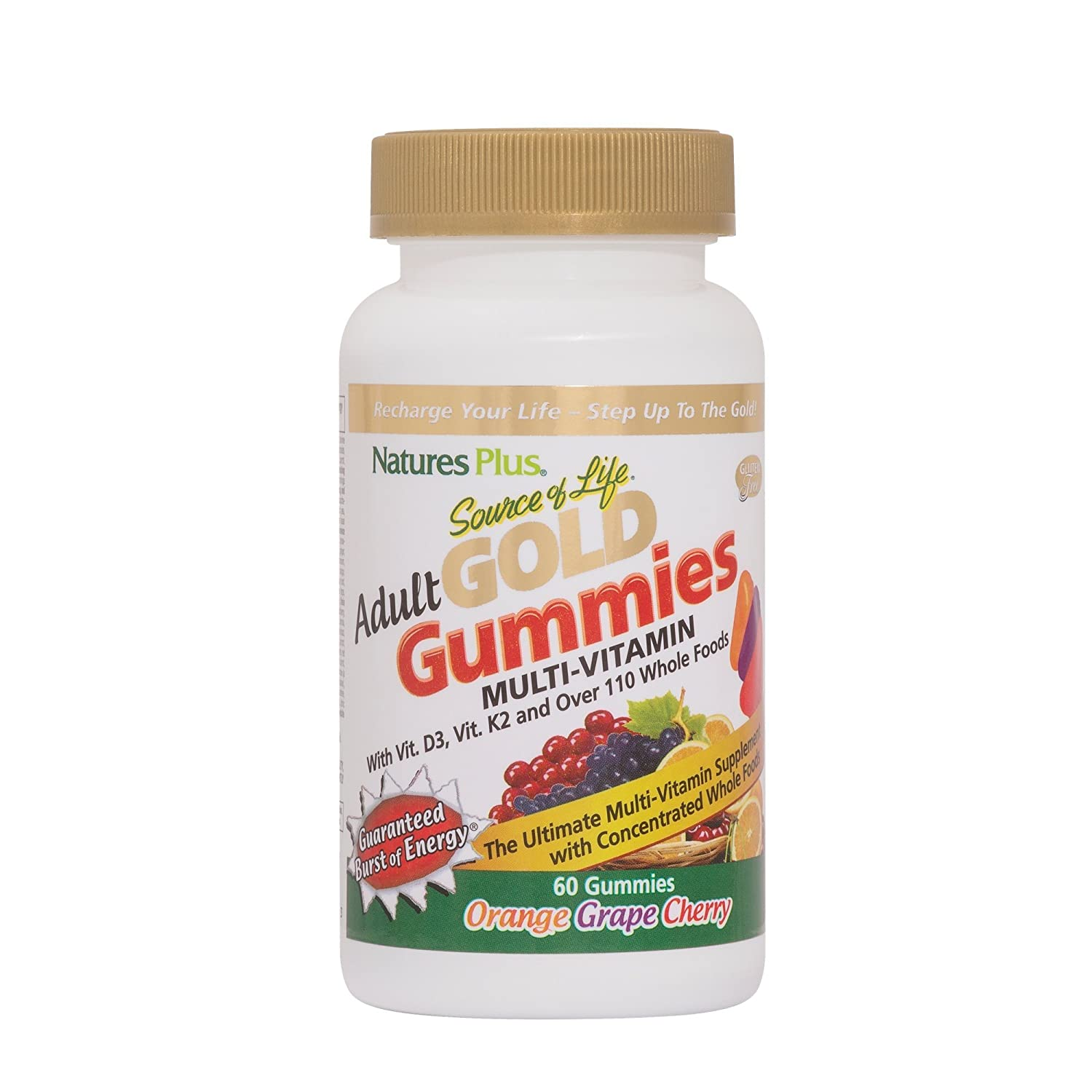NaturesPlus Source of Life Gold Adult Multivitamin Gummies – 60 Whole Food Gummies – Complete Daily Vitamin Supplement – Free Radical Defense, Energy Support – Gluten-Free – 30 Total Servings