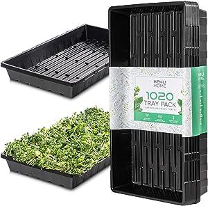 1020 Trays - Seed Starter Garden Plant Propagation Tray - Extra Strength - No Holes 5-Pack - Microgreens - Drip Tray