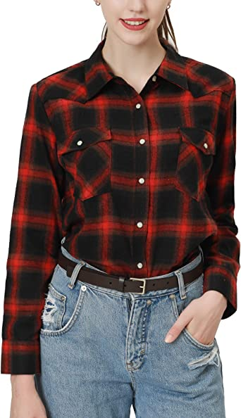 Botones a presión Camisas de franela para mujeres Camisas de manga larga para mujeres Plaid Mujeres Camisas