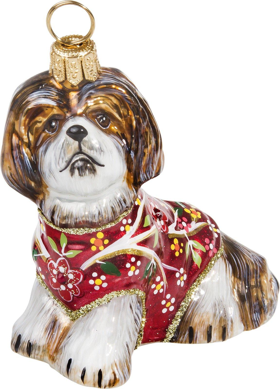 Joy-To-The-World-Brown-and-White-Shih-Tzu-in-A-Silk-Kimono-Polish-Glass-Christmas-Tree-Ornament