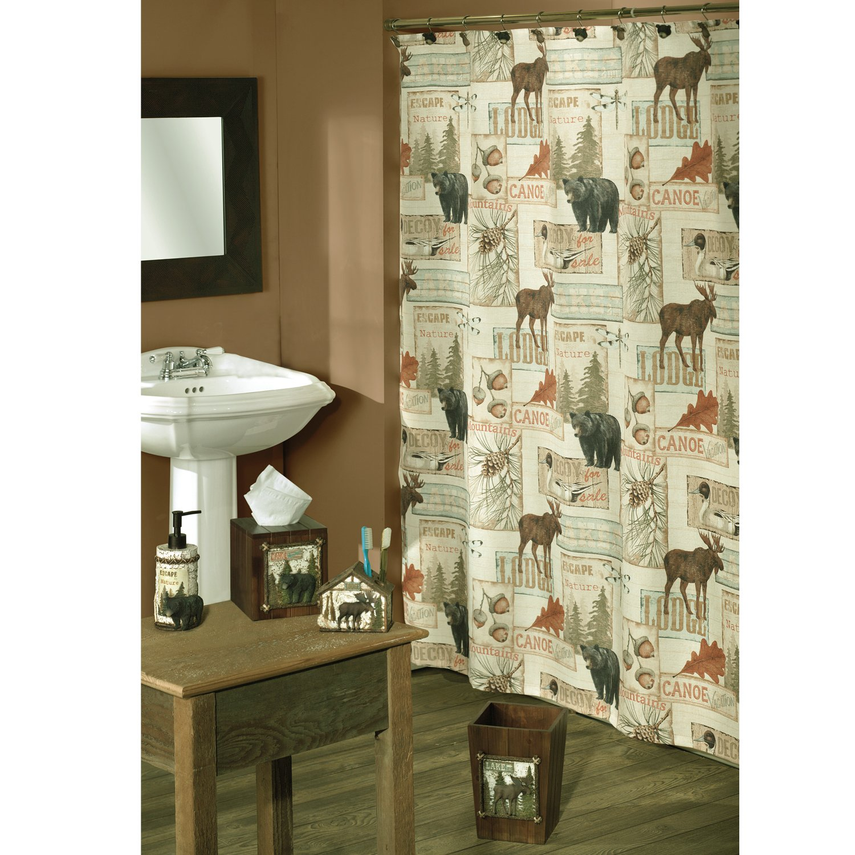 Amazon.com: Bacova Guild Vintage Outdoors Fabric Shower Curtain ...