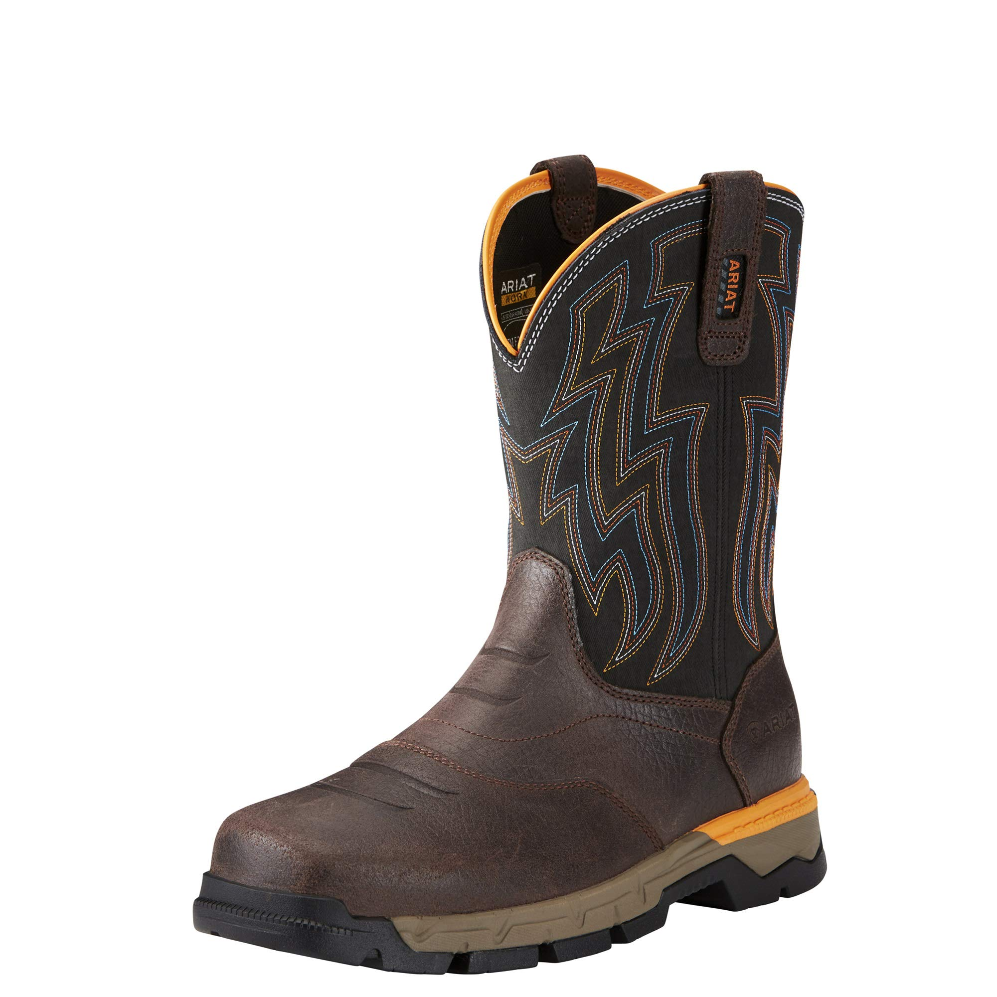 Ariat Work Men's REBAR Flex Western Work Boot, Chocolate Brown, 11.5 E US
