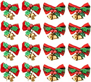 16 Pack Christmas Bow with Bells Xmas Mini Bowknot Craft Gift Ornament Christmas Tree Hanging Decor