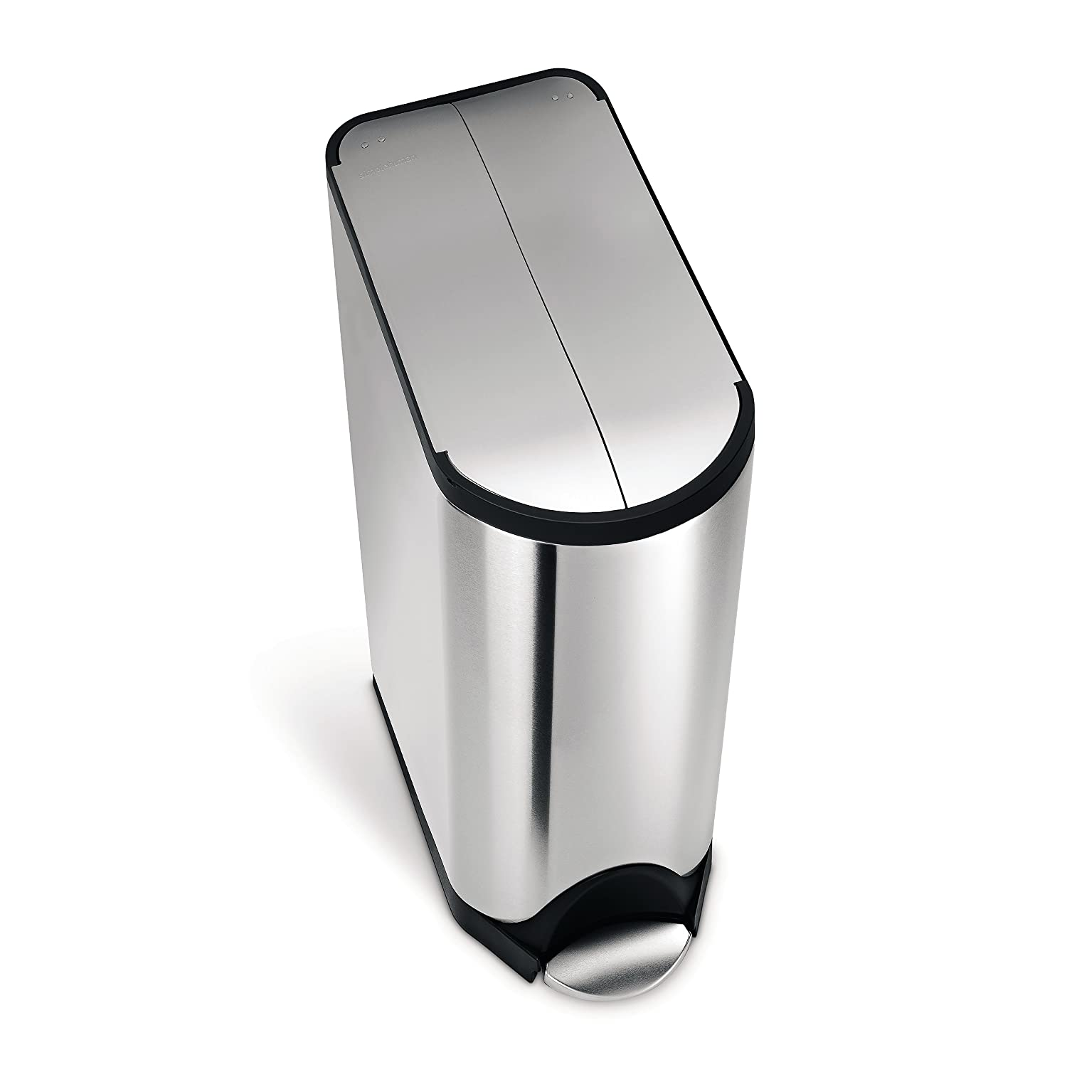 simplehuman 45 litre butterfly step trash can, black stainless steel CW2072
