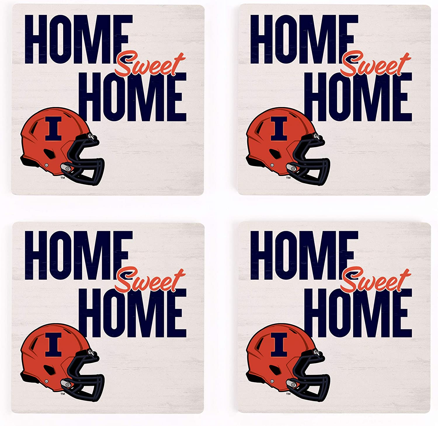 Home Sweet Home University of Illinois 4 x 4 Ceramic Coasters Pack of 4