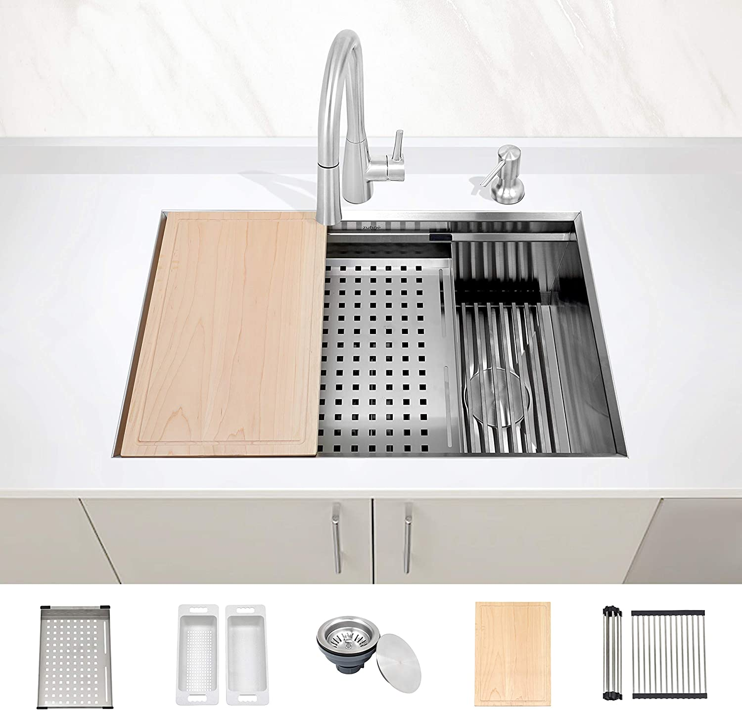 """ZUHNE Level 30-Inch Undermount Workstation Kitchen Sink, Ledge Accessories Stainless Steel 16 Gauge (Single Bowl Left Right Reversible Offset Drain for 33"""" Cabinet)"""