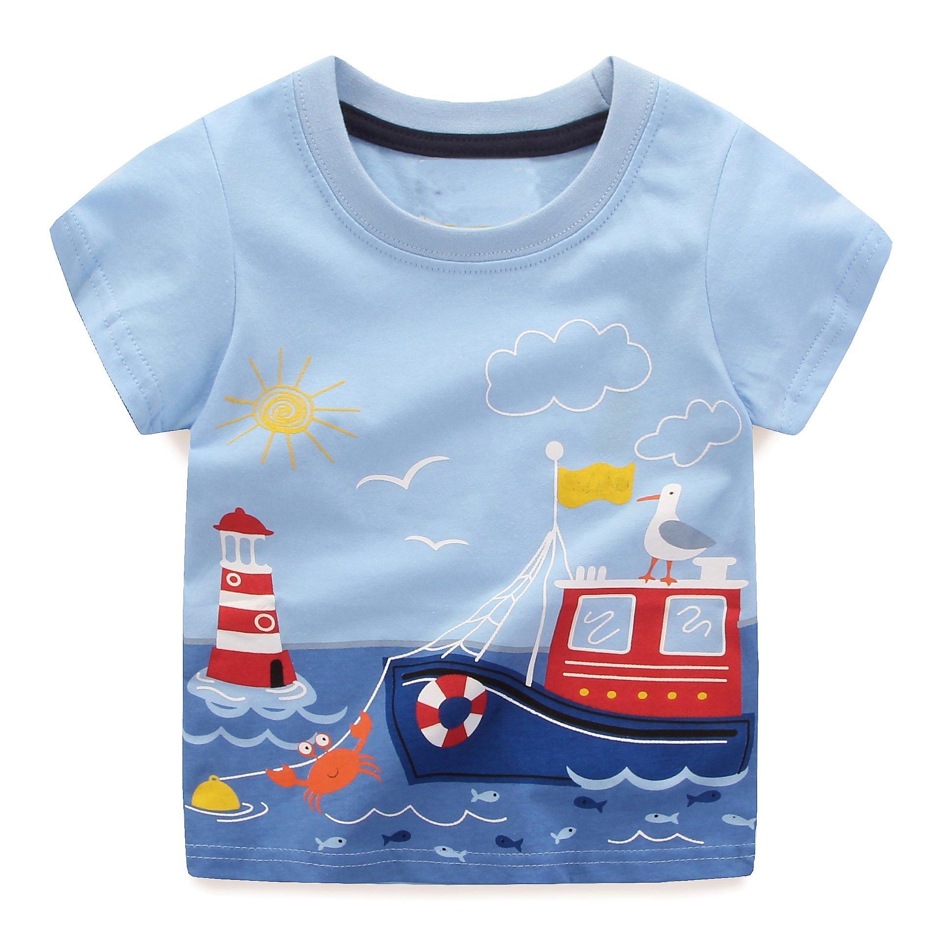 Little Boys Summer Cotton Strip T Shirt,Summer Short Sleeve T-shirt Clothes (3T, Ship)