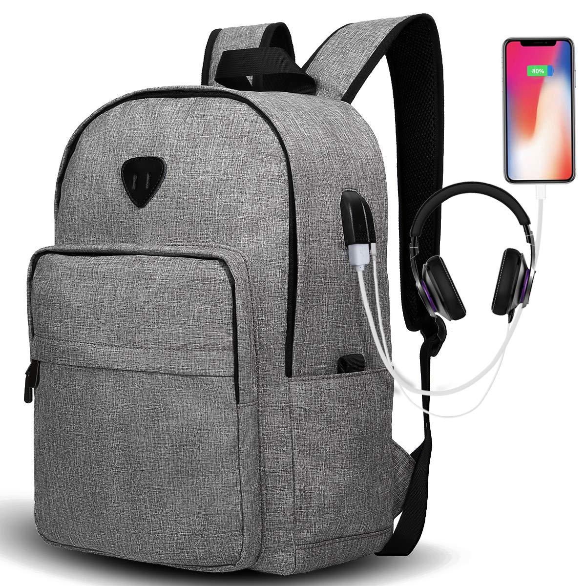 Travel Laptop Backpack, Lightweight Backpack Durable School Laptop Backpack with USB Charging Port Casual Daypack Water Resistant Bookbag for Men and Women Gray