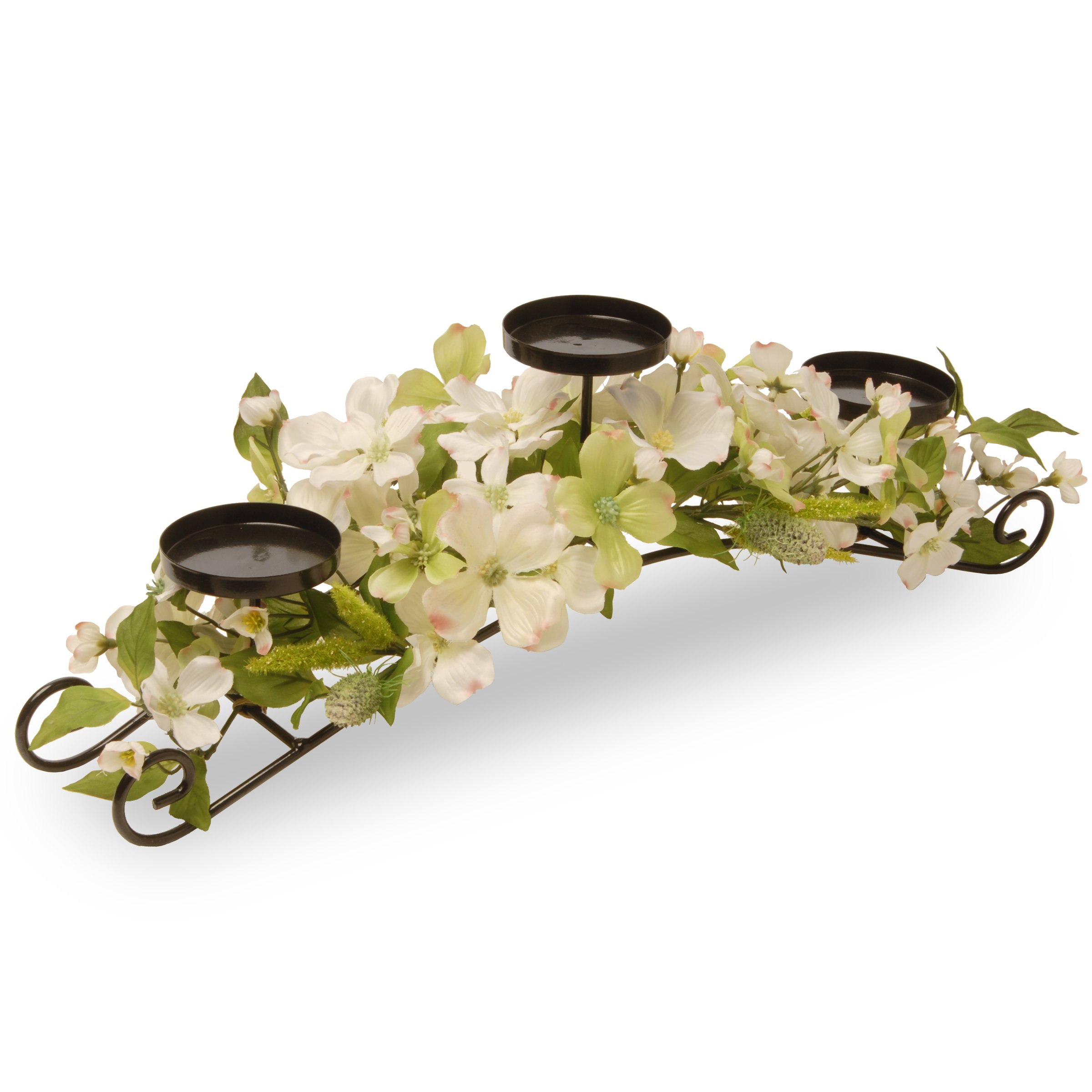 National Tree 26 Inch 3 Candleholder Metal Frame with White and Yellow Dogwood Flowers (ED3-111-26C-B)