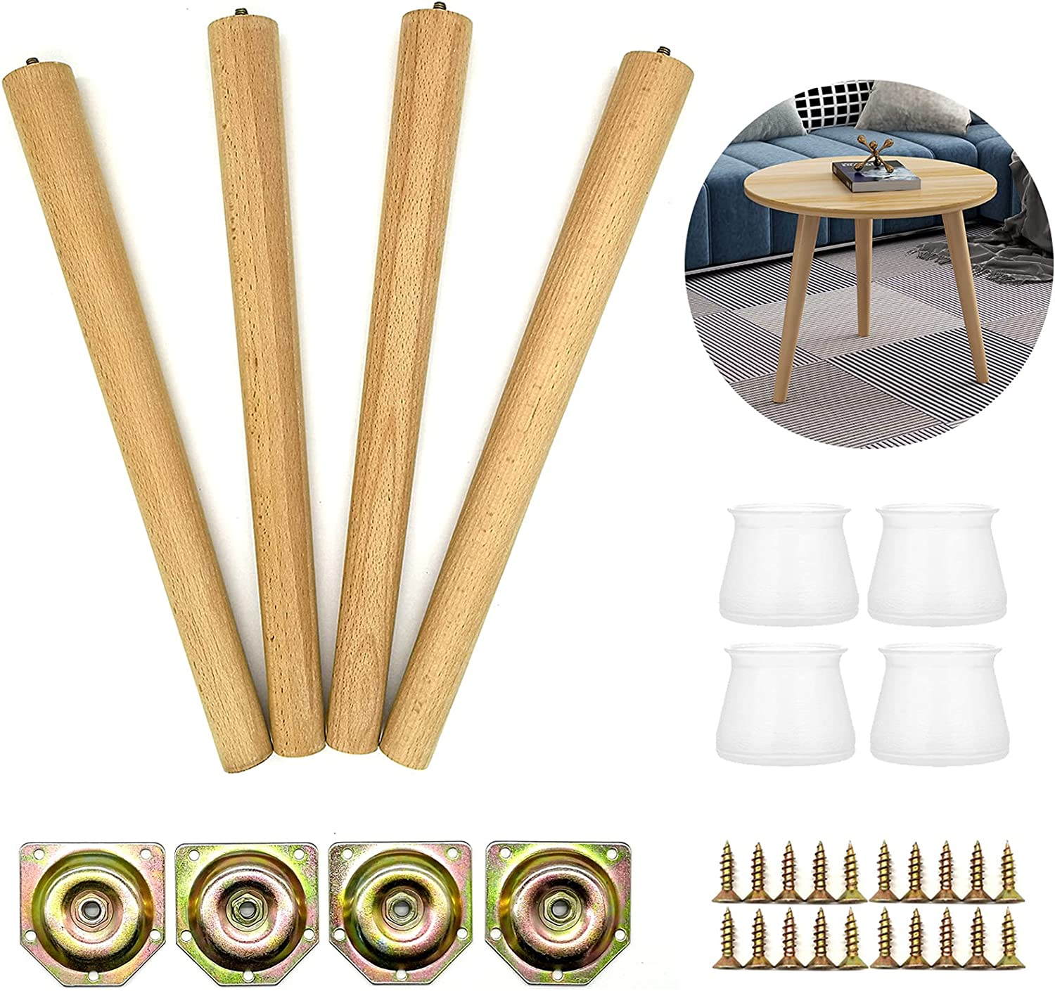 AOLY Wooden Table Legs, 16 inch Beech Wood Furniture Replacement Legs, Ideal for Coffee Table, Mid-Century Modern Table, Chair Legs, Night Stand Legs, Include Angled Mounting Plates, Set of 4