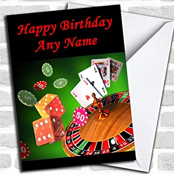 Casino Gambling Customised Birthday Greetings Card Cards Sports Hobbies Interests