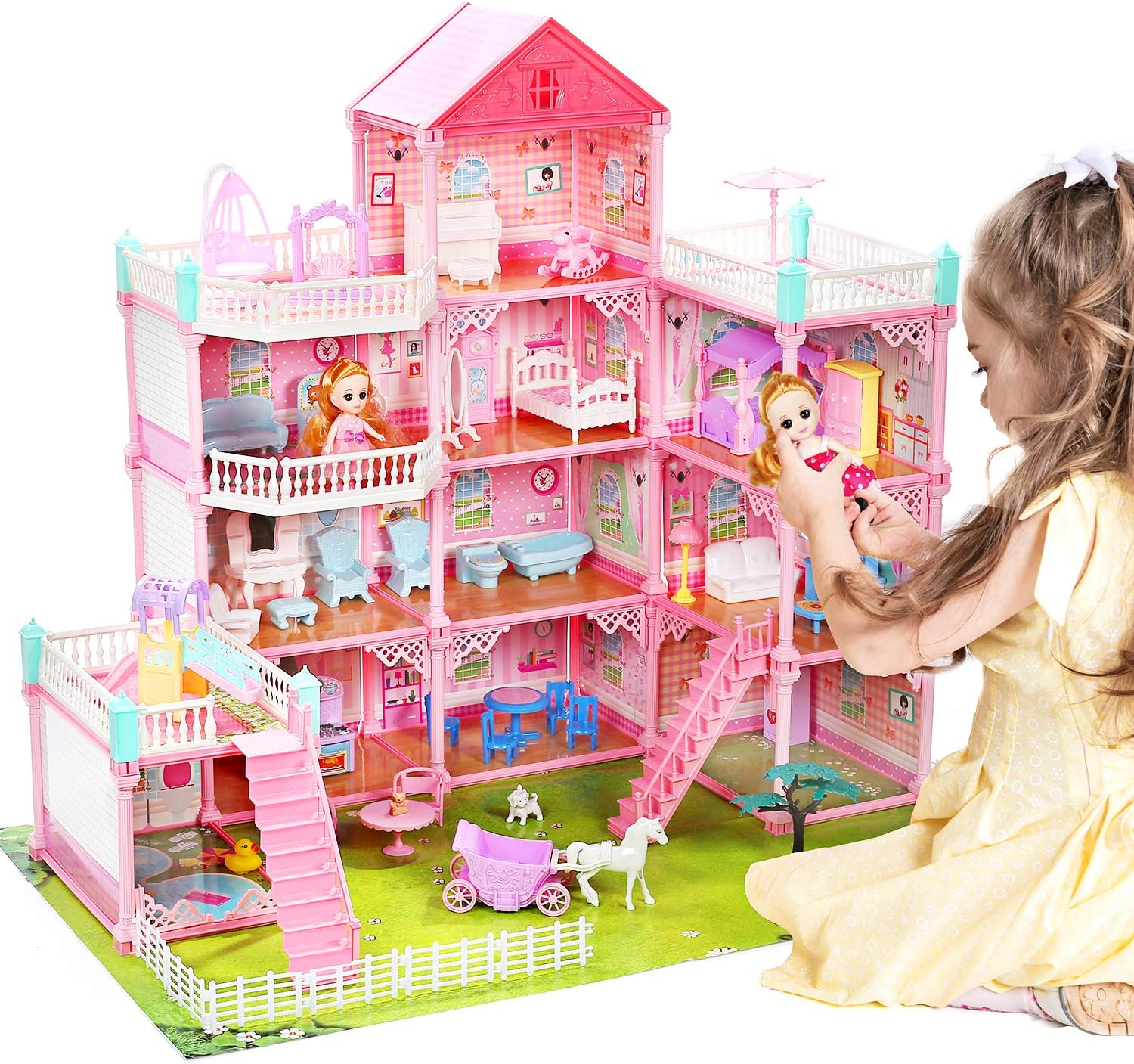 """CUTE STONE Huge Dream House Doll House Includes 2 Dolls, 32"""" x 28"""" Dollhouse Dreamhouse with 11 Rooms and Furniture, Doll Accessories, Gift for Girls and Toddlers"""