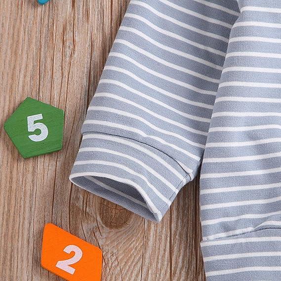 YWLINK Ropa De Bebe CáRdigan A Rayas De Manga Larga Mezcla De AlgodóN Suave Y Confortable Abrigo De Pijama Simple Chaqueta De Sudadera Ropa Casual para BebéS Unisex 0-24 Meses 1-5 AñOs