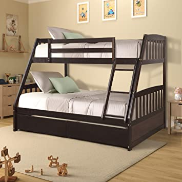 Amazon Com Lumisol Wood Low Twin Over Full Bunk Bed With Two Storage Drawers Stairs For Kids Boys And Girls Espresso Kitchen Dining
