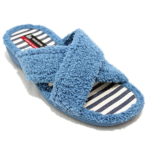 Vulcabicha 701 - Zapatillas de Rizo con Tiras Cruzadas de Color Azul - Azul, 36: Amazon.es: Zapatos y complementos