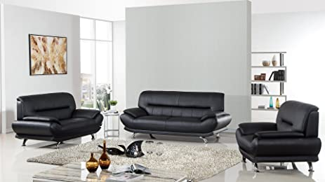 American Eagle Furniture 3 Piece Arcadia Collection Complete Genuine  Leather Living Room Sofa Set, Black