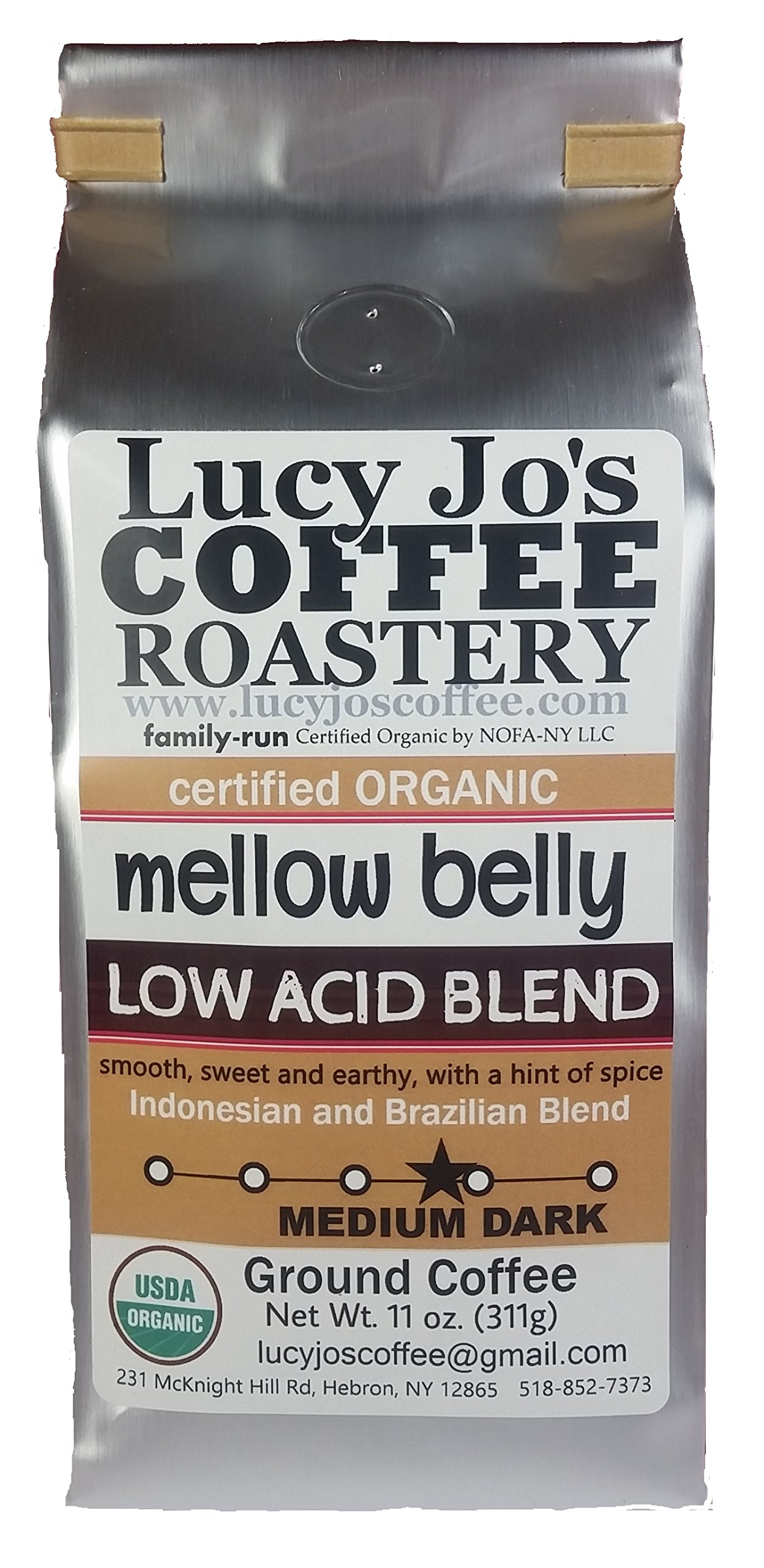 Lucy Jo's Coffee, Organic Mellow Belly Low Acid Blend, Ground, 11 oz