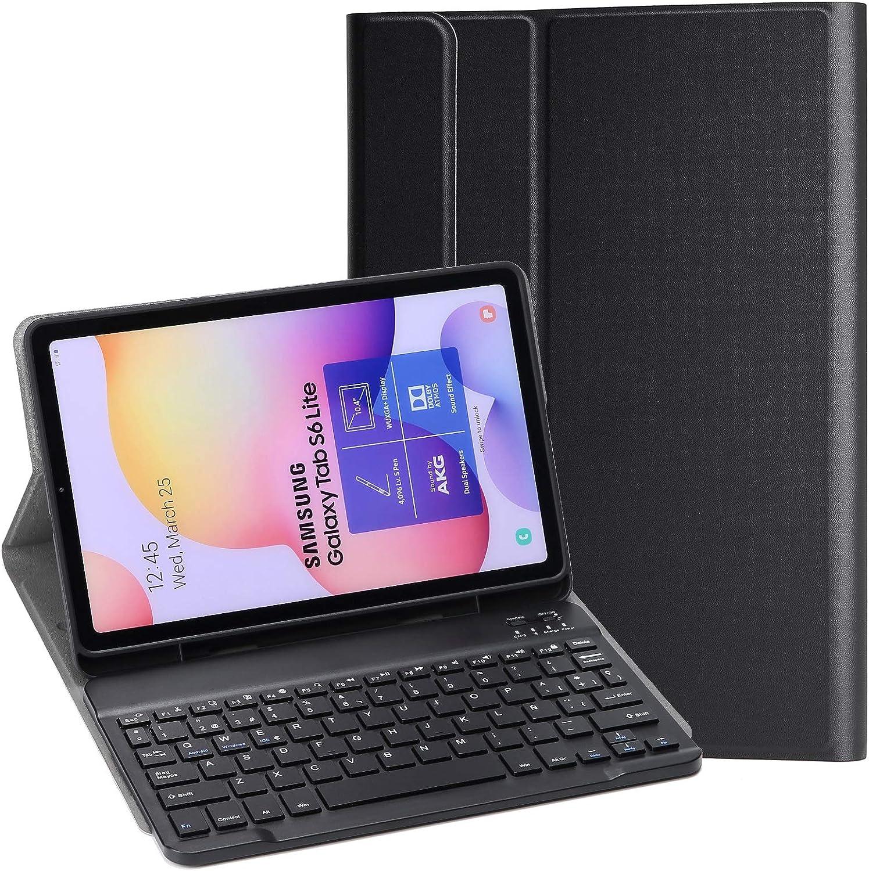 KILISON Samsung Galaxy Tab S6 Lite Funda Español Teclado Estuche [Diseño Español Ñ], [Ranura para S Pen] Wireless Bluetooth Teclado Cover para Samsung Galaxy Tab S6 Lite 10.4 P610/ P615 2020, Negro