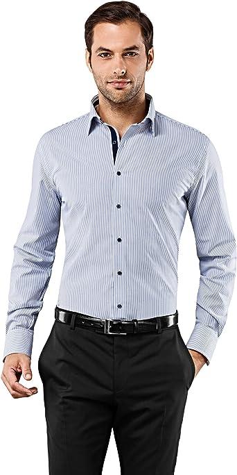Vincenzo Boretti Camiseta para Hombre Slim-fit no Necesita Planchado Rayas con Contrastes