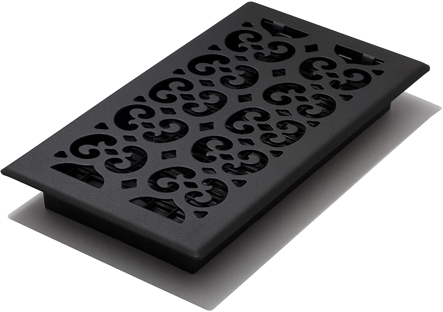 Decor Grates STH612 Scroll Text Floor Register, 6-Inch by 12-Inch, Black