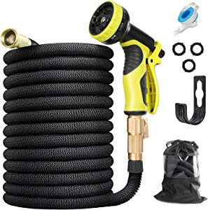 HAUEA Expandable Garden Hose 100FT Leakproof Lightweight Flexible Water Hose with 10 Function Nozzle and 3/4