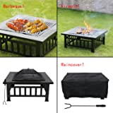 """Peach Tree 32"""" Outdoor Fire Pit Square Metal Firepit Backyard Patio Garden Stove Wood Burning Fire Pit with Cooking Grill, Spark Screen and Cover"""