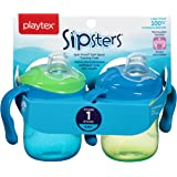 Playtex Baby Sipsters Spill-Proof Soft Spout Training Cup with Removable Handles, Stage 1 (4+ Months), Pack of 2 Cups