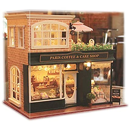 Amazon Com Ogrmar Wooden Dollhouse Miniatures Diy House Kit With