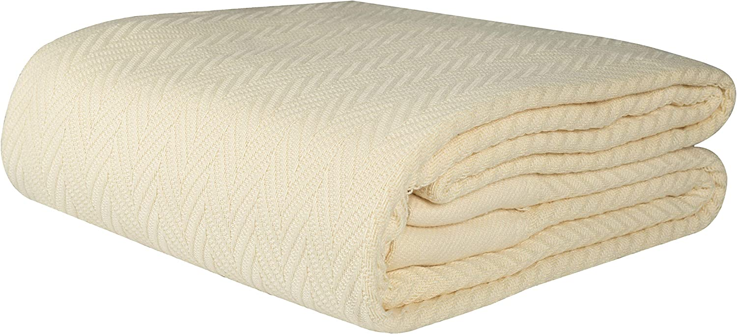 Threadmill Home Linen 100% Combed Cotton Blanket Herringbone Soft Breathable King Size Natural