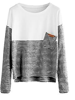 f9fc2e77199b0 SweatyRocks Women s Colorblock Summer Short Sleeve Casual Loose T-Shirt  Crop Top