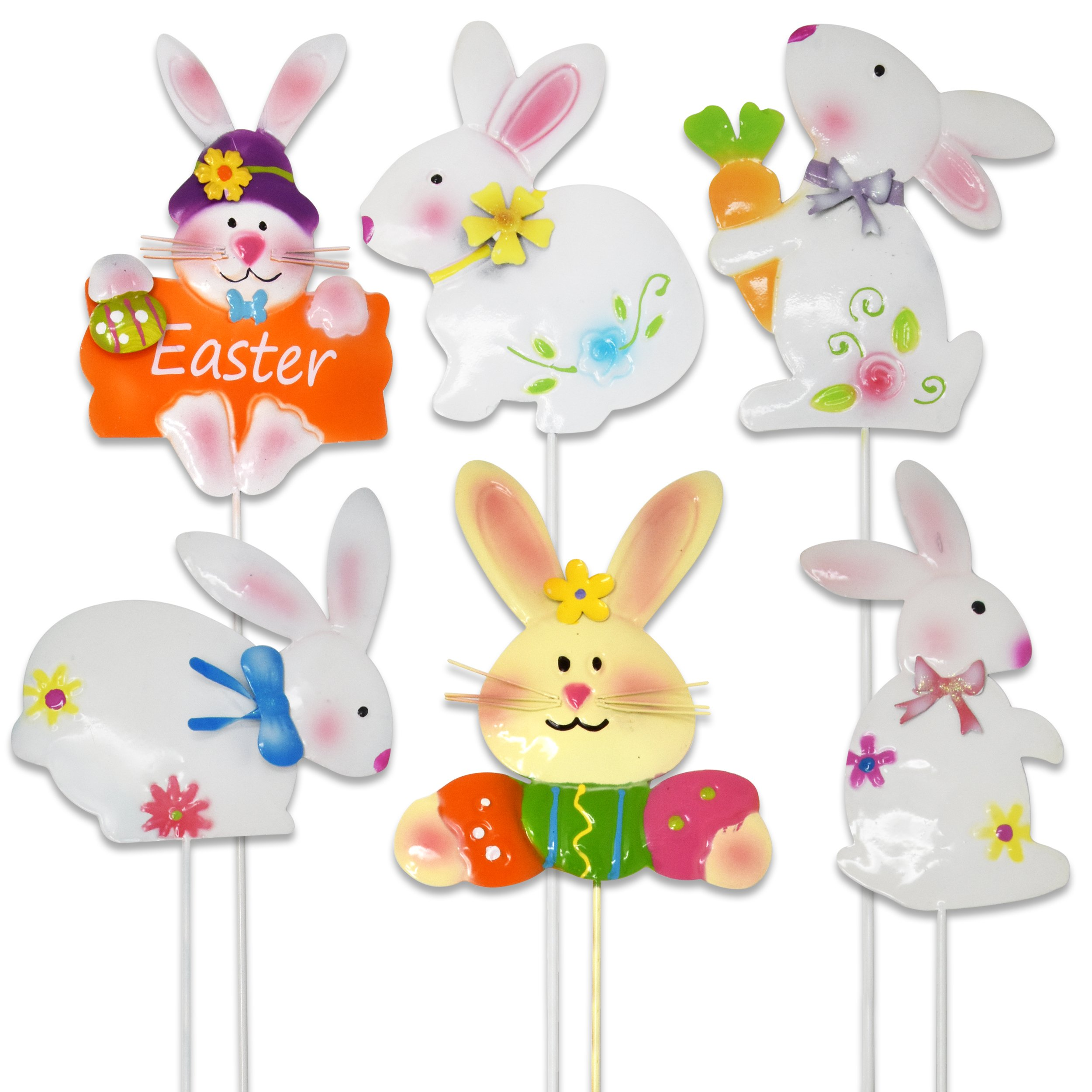 Gift Boutique 6 Easter Yard Stakes Bunny Decorations Weatherproof Supplies Bunny Metal Garden Spring Party Lawn Outdoor Signs