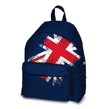KOOKIE Sac à dos temps libre UNION JACK drapeau anglais bleu Matériel: polyester 600 Dossier et bretelles rembourrés Mesure: 30x15x42 cm.