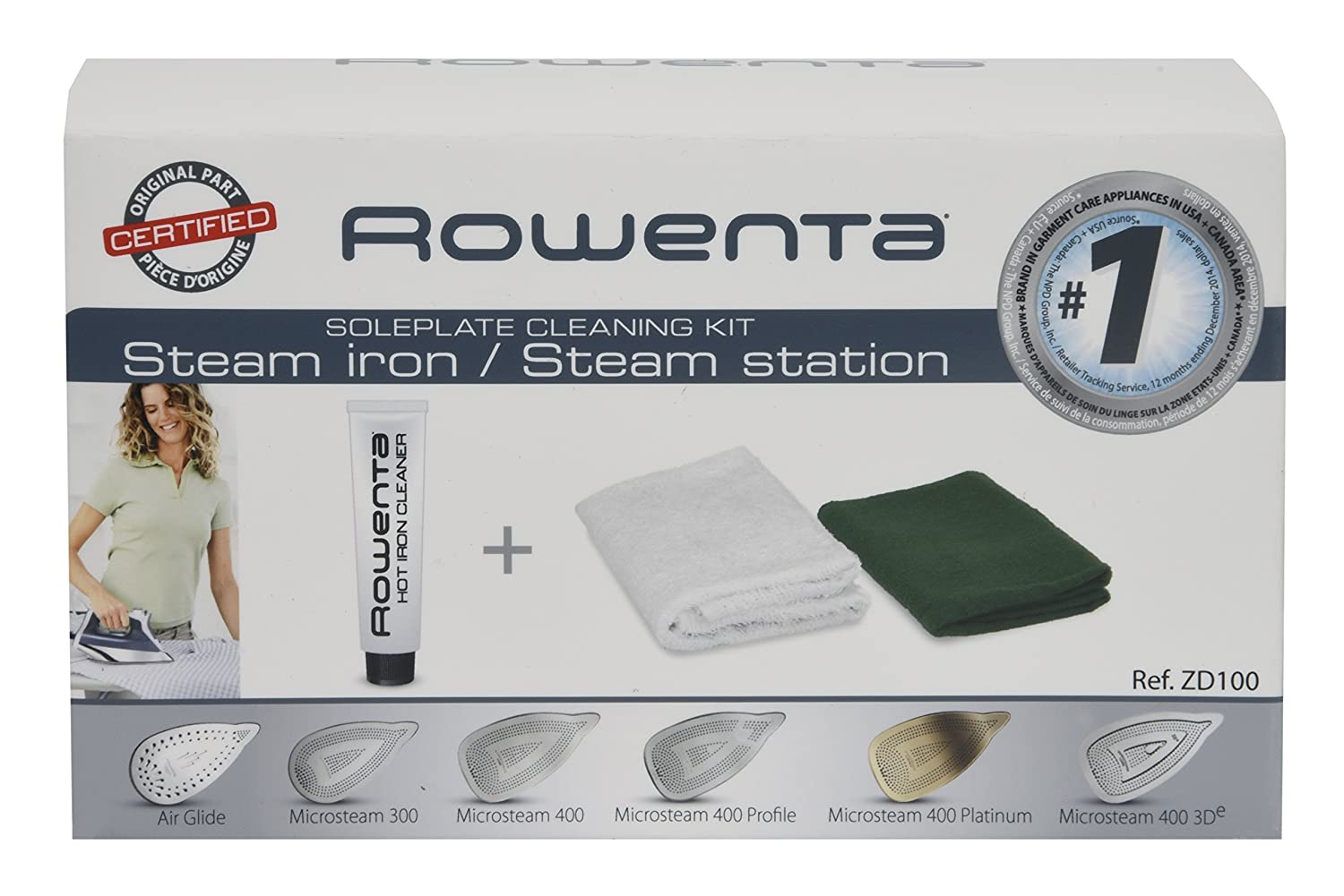 Rowenta ZD100 Non-Toxic Stainless Steel Soleplate Cleaner Kit for Steam Irons Groupe SEB 8100000470