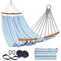 Double Hammock with Tree Straps Kit, Ohuhu Folding Curved-Bar Bamboo Hammock with Carrying Bag, Portable 2-Person…
