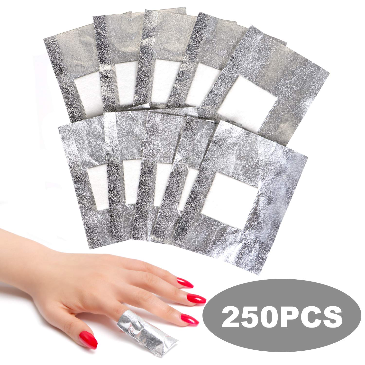 Amazon Com Ecbasket Nail Polish Remover Gel Polish Remover Soak Off Foils 250pcs Gel Nail Polish Remover Wrap Foils With Lager Cotton Pad Nail Gel Remover Tool Beauty