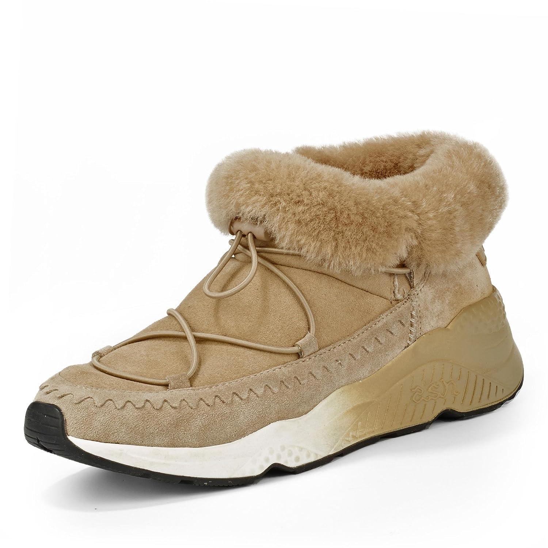 ASH S-117507-001 Mitsouko Damen modische Stiefel aus Veloursleder Lammfellfutter, Groesse 40, Camel