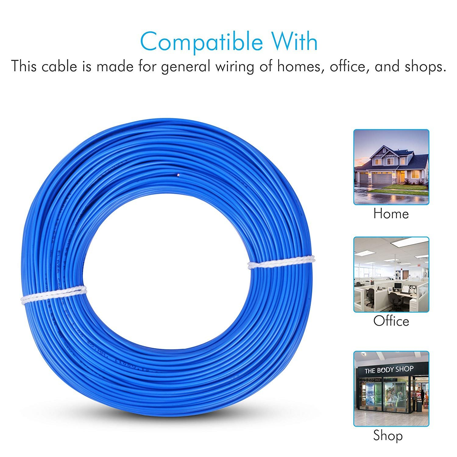 Plaza Cables 15 Sq Mm Copper Pvc Insulated Electrical Wire Cable Home Ethernet Wiring 1100v 90 Meter Blue90 Mtr Fr House Electric