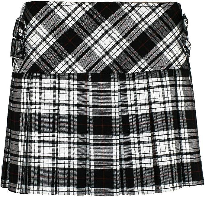 UK Girls Kids Tartan Pleated Kilt Skirt Leather Buckled Plaid Mini Dress Uniform