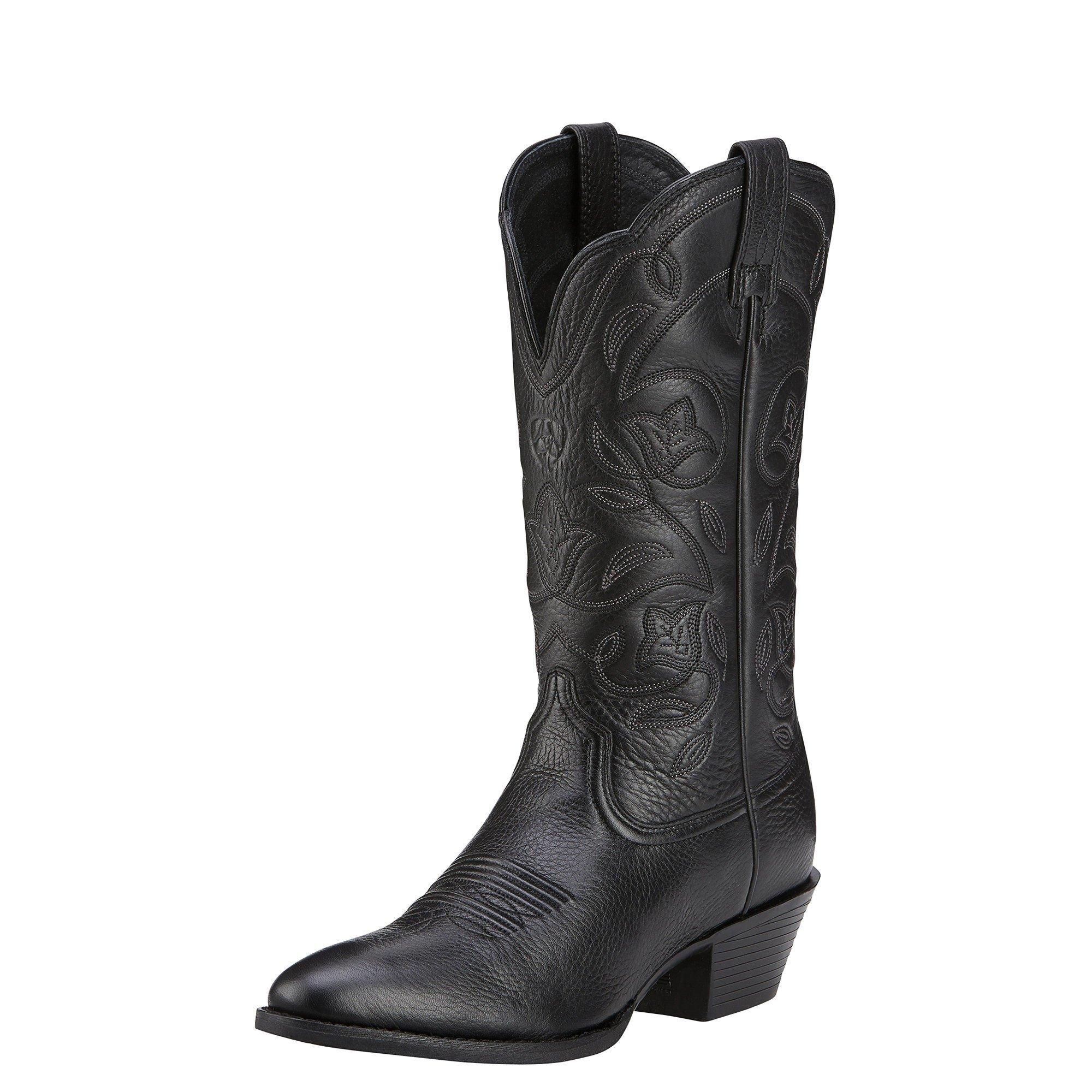 Ariat Women's Heritage Western R Toe Western Cowboy Boot, Black Deer Tan, 10 B US