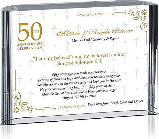 Golden 50th Wedding Anniversary Gift PERSONALISED Free