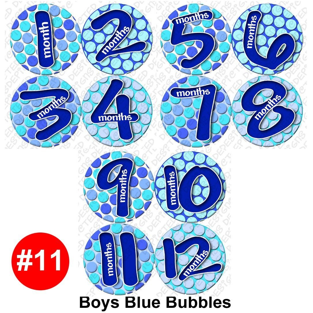 BLUE BUBBLE Baby Month Onesie Stickers Baby Shower Gift Photo Shower Stickers, baby shower gift by OnesieStickers by onesiestickers   B005KO3IF0