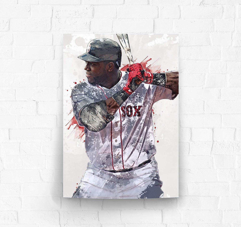TopShelfPrints David Ortiz Big Papi Boston Red Sox Poster//Canvas Print Kids Room Wall Decor Man Cave Sports Decor Baseball Artwork Birthday Gift Idea