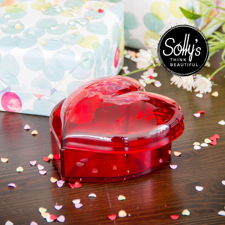 Solly's Clara - Contenedor en forma de corazón de acrílico para joyas, cosméticos - Caja de regalo para niñas - Rojo