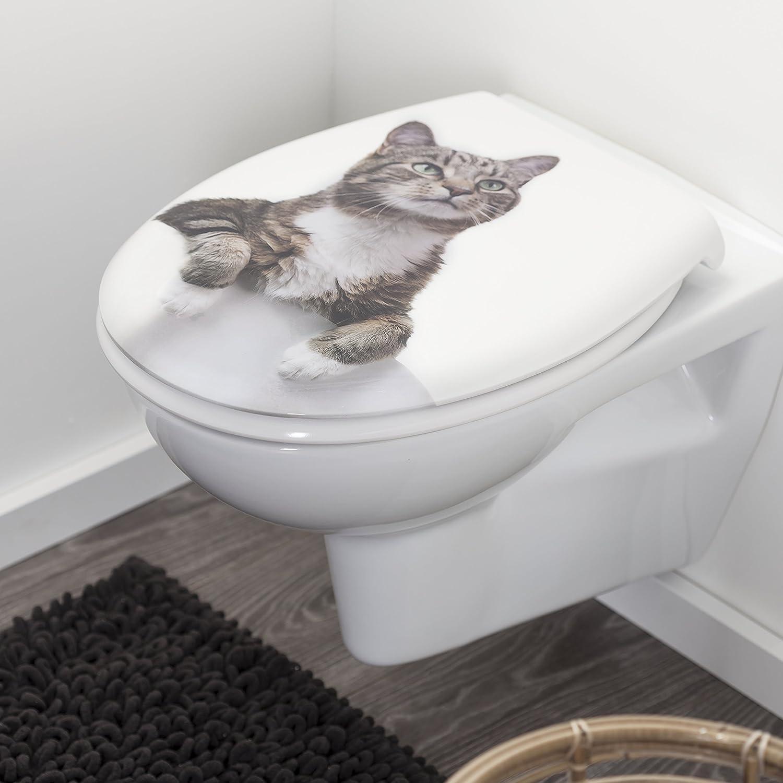 Farbe: Wei/ß Edelstahlbefestigung Tiger Toilettensitz Katze WC-Sitz aus Duroplast mit Katzen-Motiv Absenkautomatik und Easy-Clean-Funktion