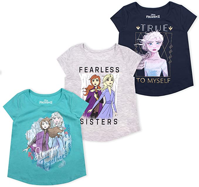 Frozen Disney Girls 3-Pack T-Shirts: Wide Variety Includes Minnie Princess Moana