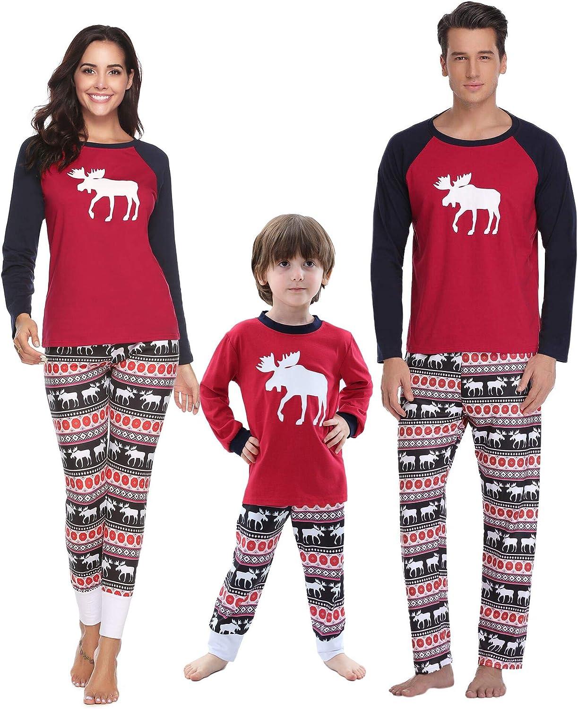 Aibrou Pigiama Natale Famiglia Set Pigiama Lungo in Due Pezzi Pigiama per Natale in Cotone pap/à Mamma Bambini//Bambine