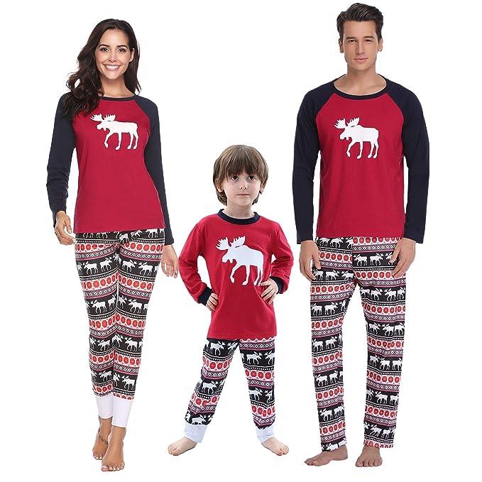 4409f69d9e Aibrou Pijamas de Navidad Familia Conjunto Pantalon y Top Pijamas Mujer  Hombre Invierno Manga Larga Pijama