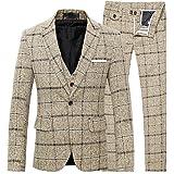 FOMANSH スーツ メンズ スリーピーススーツ スーツセットアップ ベスト付き チェック柄 スリム 1ボタン ビジネススーツ スリムスーツ 紳士服 結婚式 二次会 就職