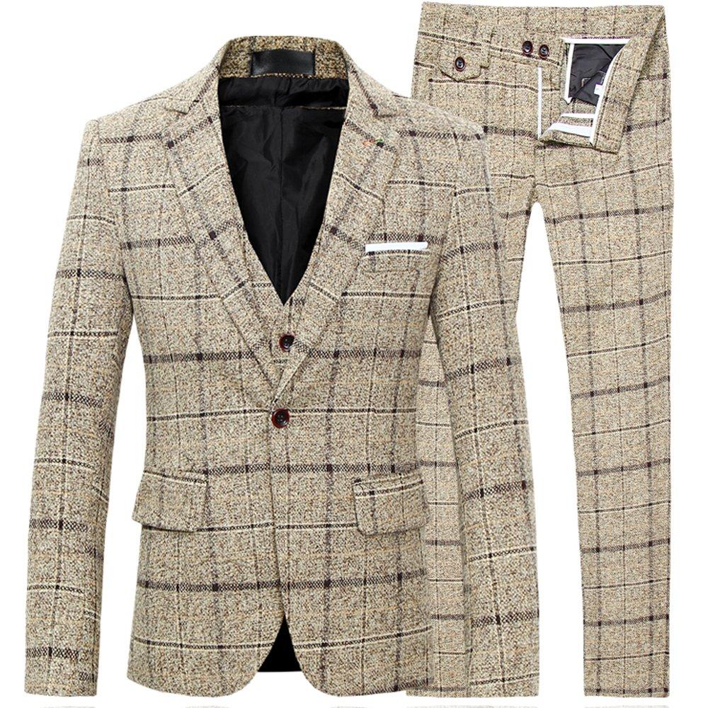 FOMANSH スーツ メンズ スリーピーススーツ スーツセットアップ ベスト付き チェック柄 スリム 1ボタン ビジネススーツ スリムスーツ 紳士服 結婚式 二次会 就職 B07BSB1279 XXX-Large|イエロー イエロー XXX-Large